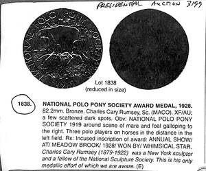 National Polo Pony Society 1919 Bronze Medal Sculpted by Charles Cary Rumsey
