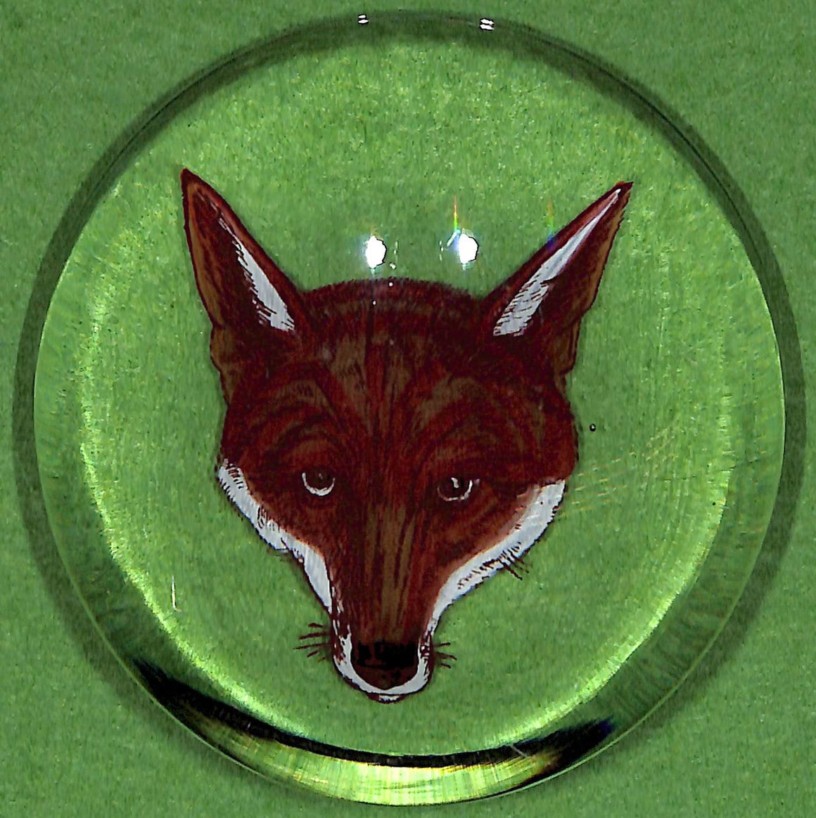 Vintage 'Fox-Head' Glass Paperweight