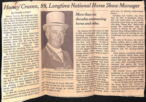"Clarence ""Honey"" Craven, National Horse Show Manager"