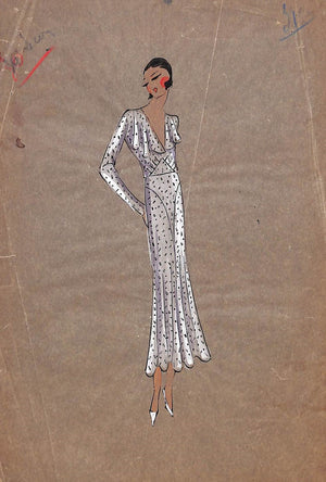 Parisian Women's c1920s Fashion Gouache