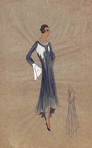 Lanvin of Paris c1920s Original Fashion Illustration in Gouache