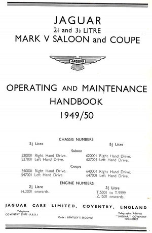 Jaguar Operating and Maintenance Handbook 1949/50