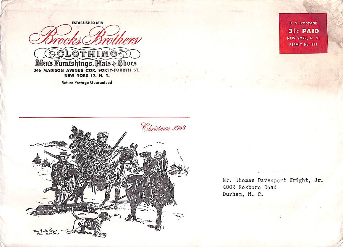 Brooks Brothers Christmas 1953 Envelope w/ Paul Brown Illustration