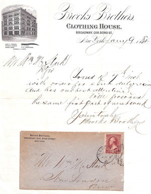 Brooks Brothers Stationary & Envelope January 9 1884
