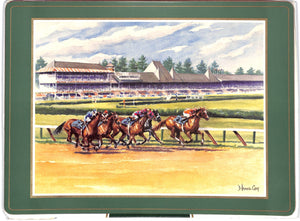 Set of 2 Hialeah & 2 Saratoga Race Track Place Mats Made In England New in Box!