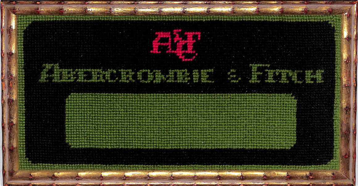 Abercrombie & Fitch c1960s Needlepoint A&F Logo Sign In Gilt Bamboo Frame