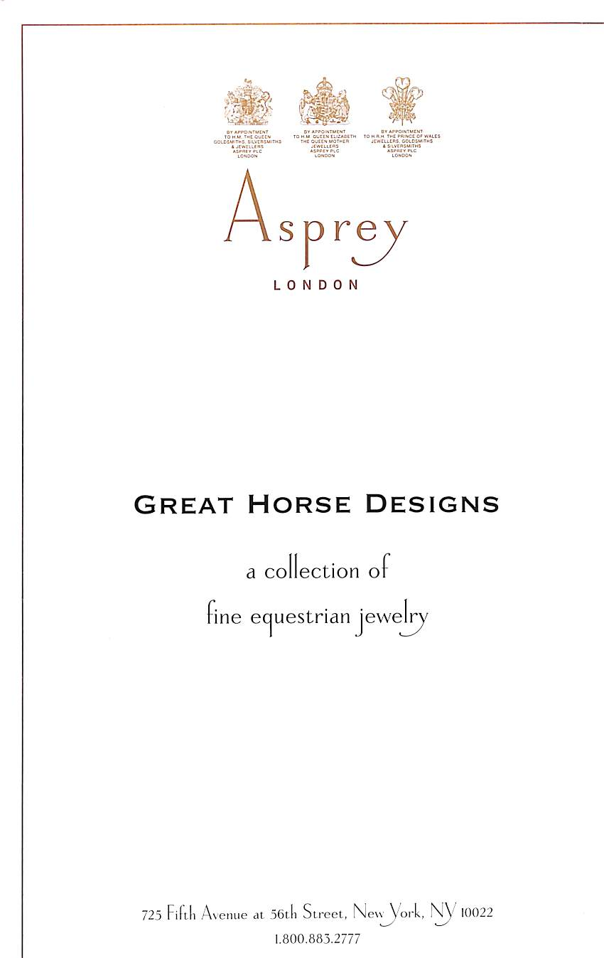 """Asprey Great Horse Designs: A Collection of Fine Equestrian Jewelry"""