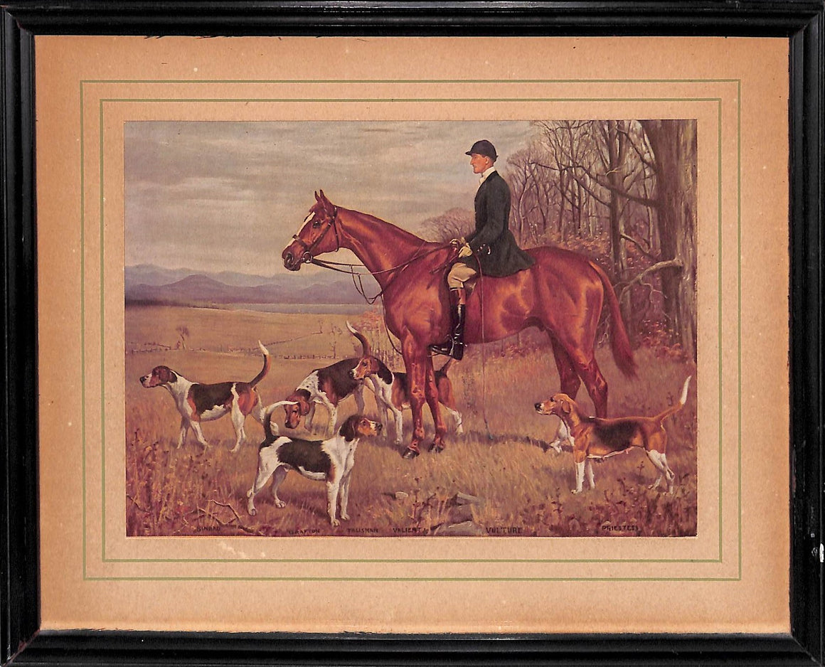 """Fox-Hunter w/ Pack of Hounds"" c. 1932 by Franklin Brooke Voss (Sold!)"