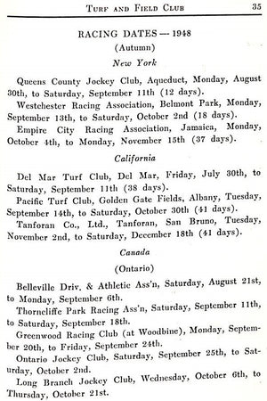 """Turf And Field Club-Belmont Park 1948"""
