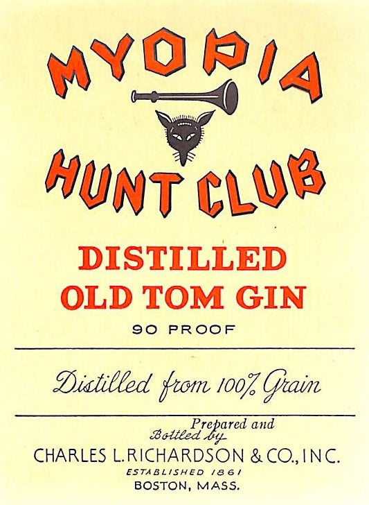 Myopia Hunt Club Distilled Old Tom Gin Bottle Label (SOLD!)