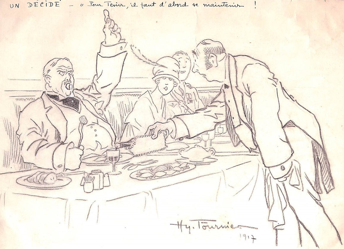 "Original Pencil Sketch ""Un Decide"" 1917 by Hy Fouriner"