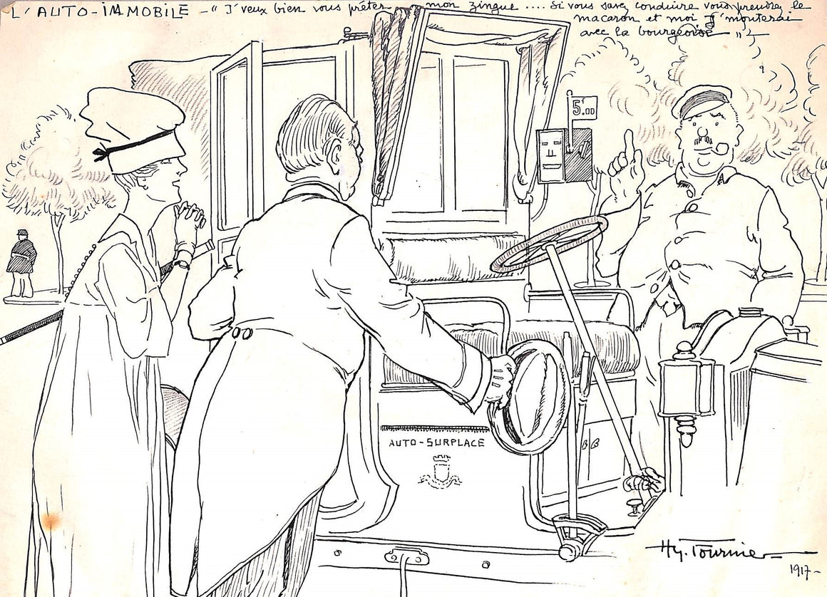 "Original Pen & Ink Drawing ""L Auto-Immobile"" 1917 by Hy Fouriner"