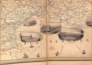 """32-Fold Parchment Linen Map of France 1850"" PERROT, A. M."