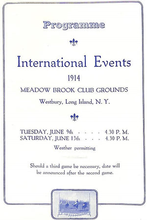 """International Polo Events England V America 1914 Official Programme"""