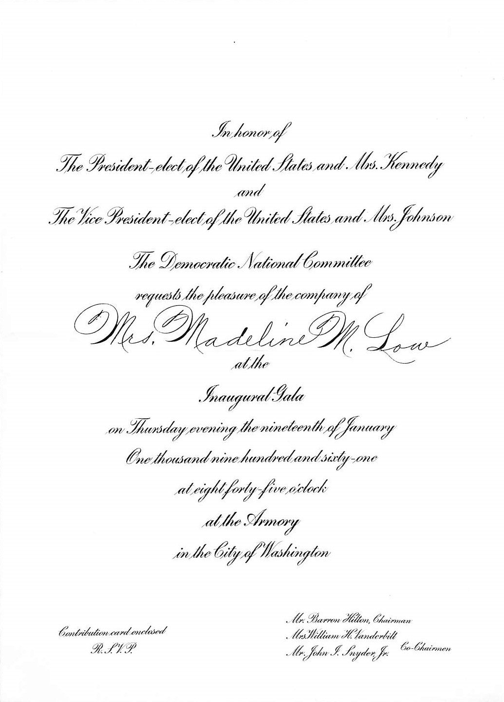 Inaugural J.F. Kennedy Gala 1/19/1961 Invitation