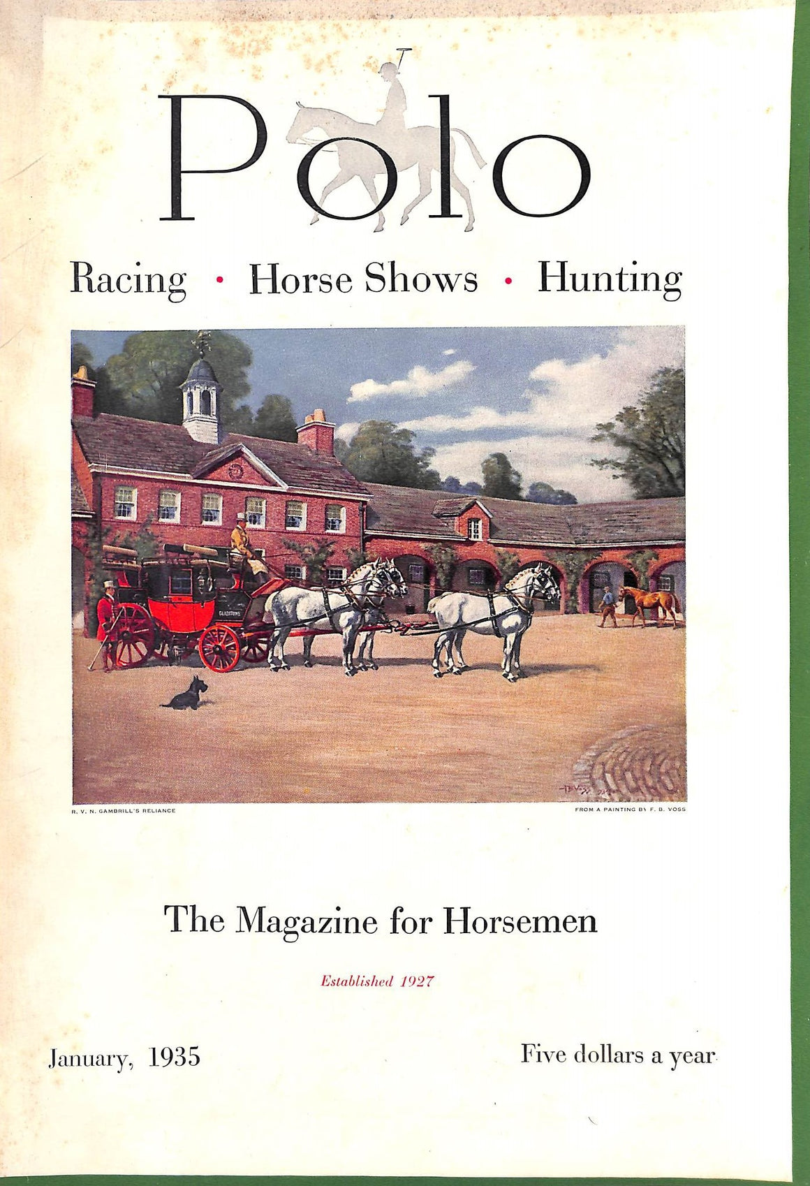 Polo Magazine Cover January, 1935 w/ F.P. Voss Cover
