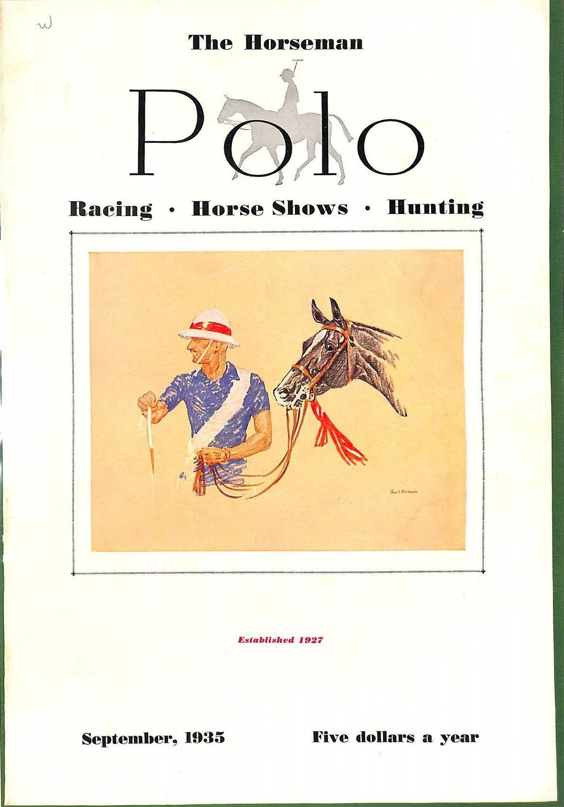 Polo Magazine September, 1935 w/ Paul Brown Cover
