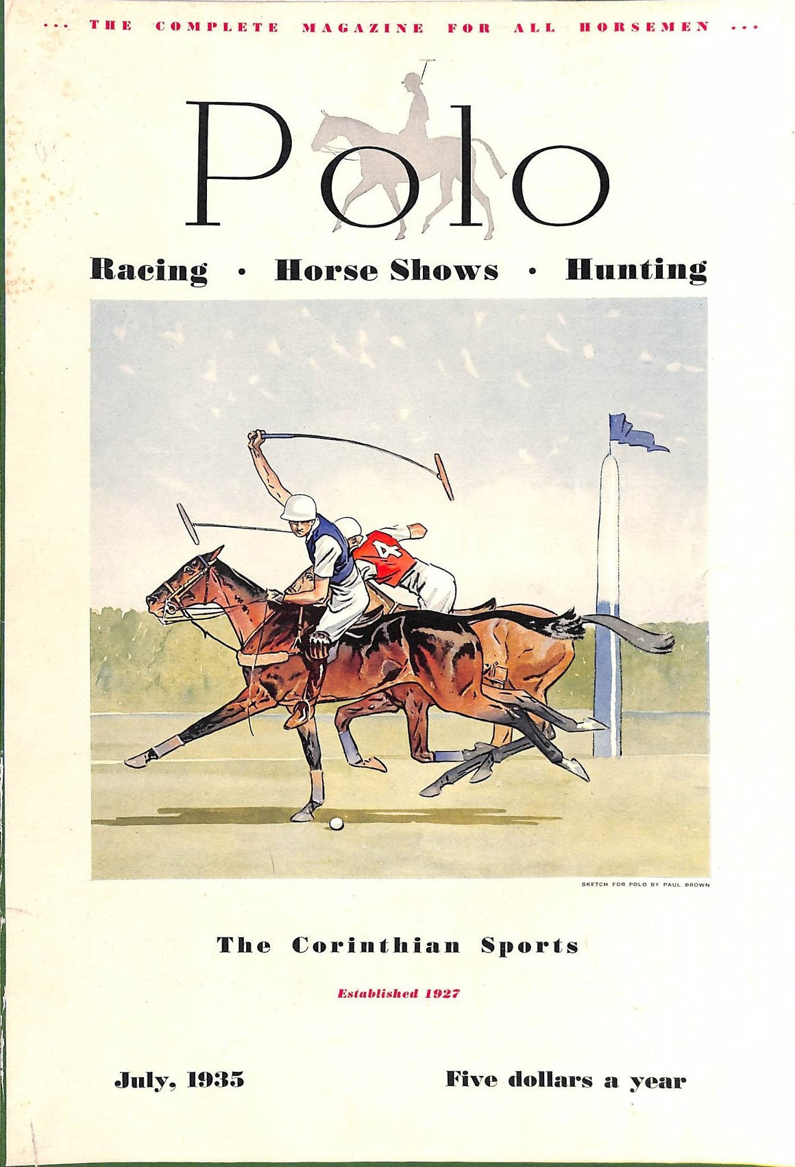 Polo Magazine July, 1935 w/ Paul Brown Cover