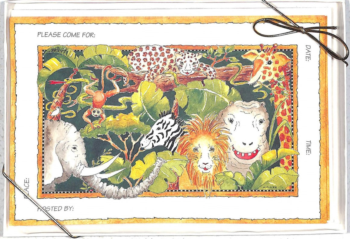 """Boxed Set of 10 Jungle Jubilee Invite Cards and Envelopes"""