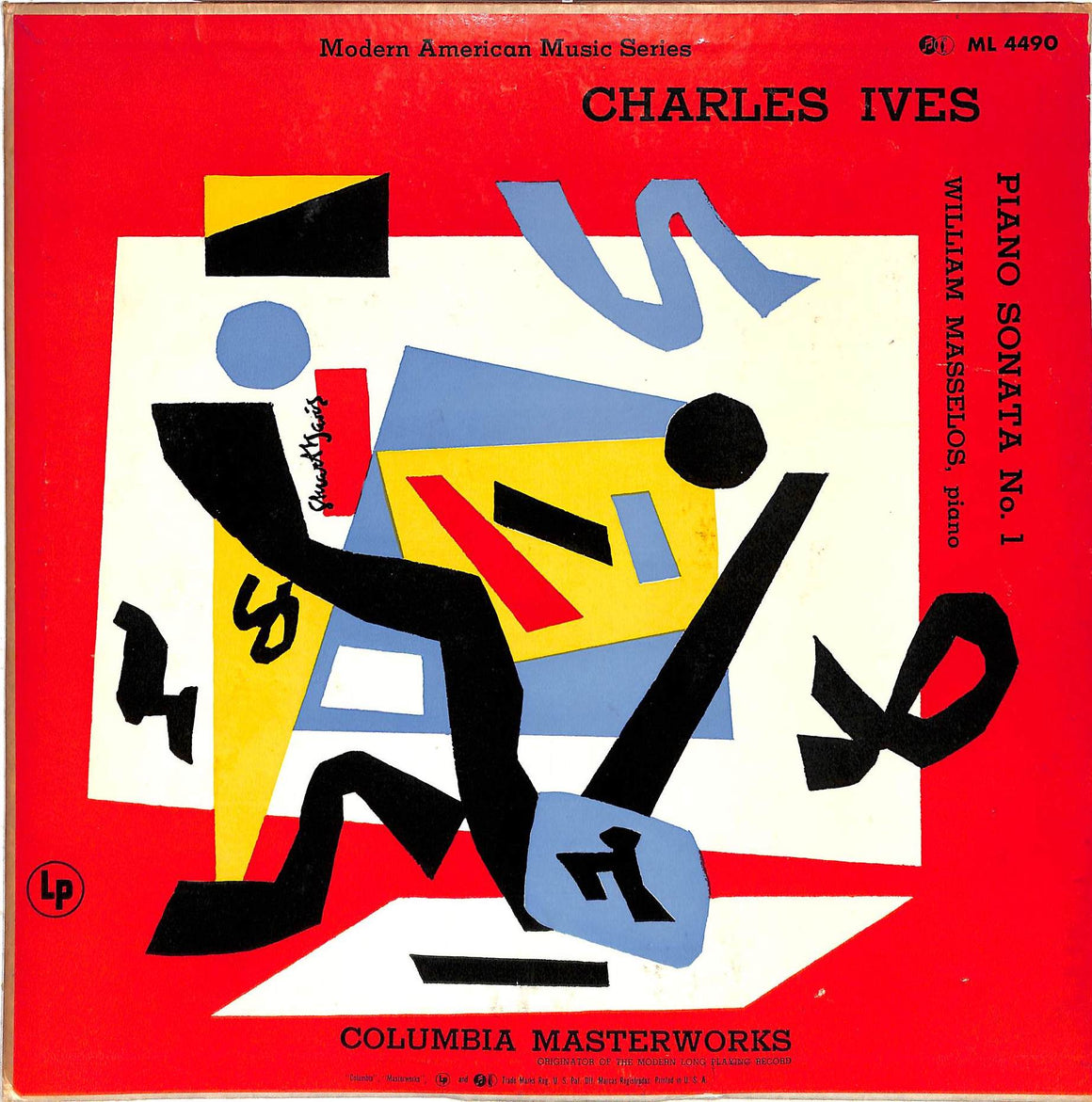 """Modern American Music Series LP Charles Ives and William Masselos, Piano w/ Stuart Davis Cover Artwork"""