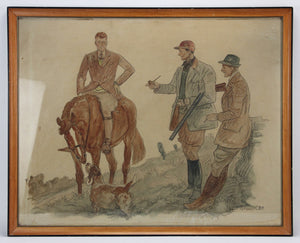 Hunters & Hound Watercolour & Ink on Paper '1937 by Paul Desmond Brown