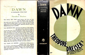 """Dawn: Theodore Dreiser's Autobiography of Early Youth"" 1931 DREISER, Theodore"