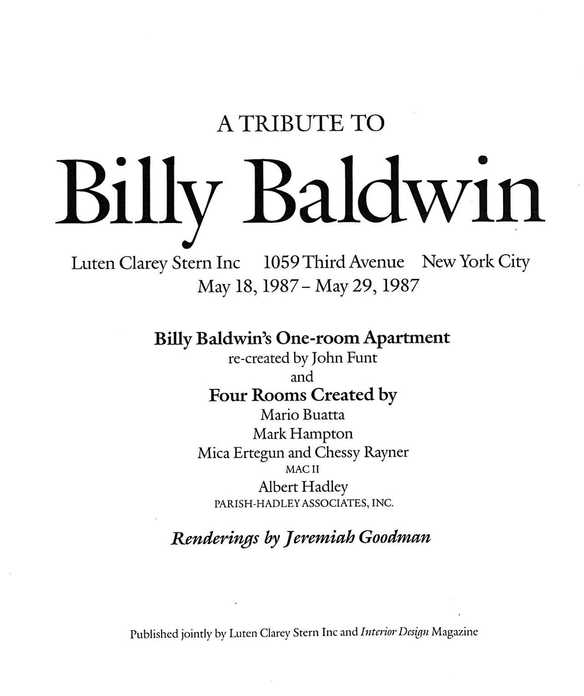 """A Tribute To Billy Baldwin"" 1987"