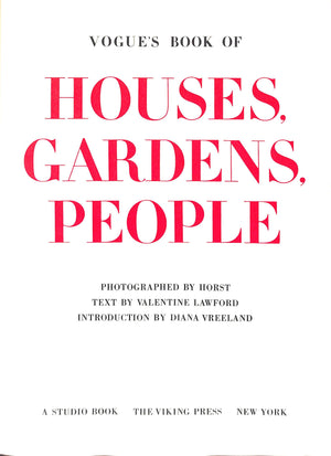 """Vogue's Book of Houses, Gardens, People"" 1968 Lawford, Valentine"