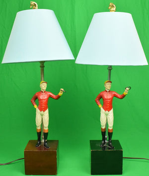"Pair of ""21"" Club Jockey Lamps w/ Blue Silk Shades"