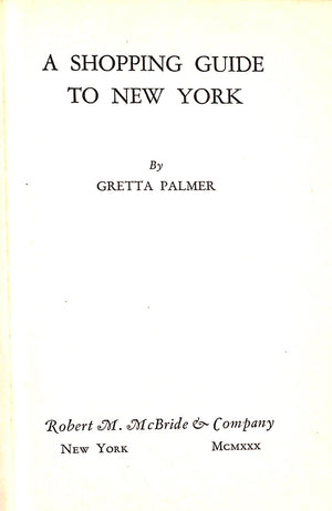 """A Shopping Guide To New York"" Palmer, Gretta"