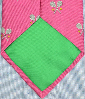 Polo by Ralph Lauren Pink Italian Silk Club Tie w/ X-d Tennis Racquets (SOLD)