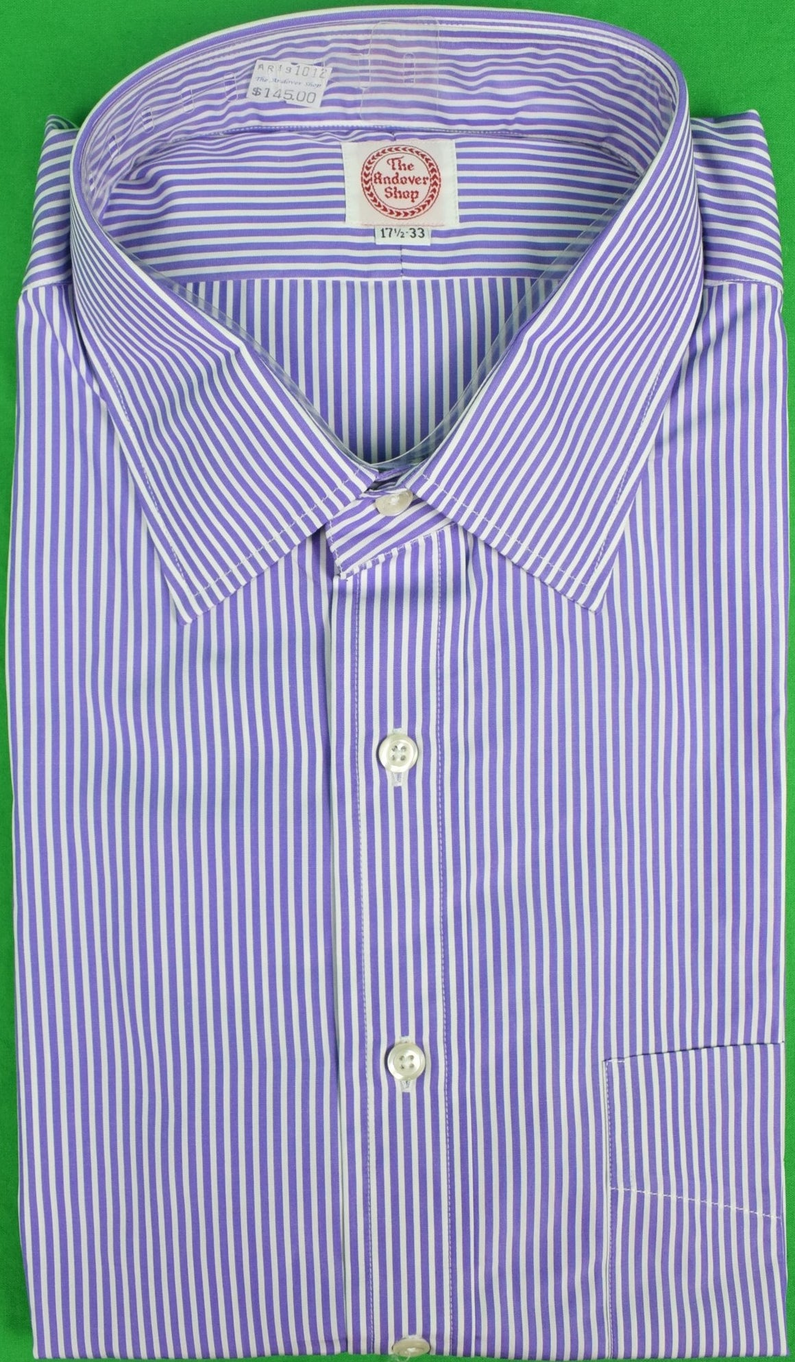 The Andover Shop Purple/ White Stripe Straight Collar 17.5-33 (New/ Old Deadstock!)