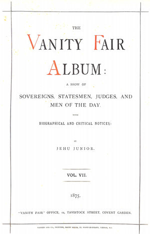 """Vanity Fair Album. Seventh Series."" JUNE, Jehu"