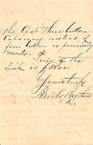 Brooks Brothers 1887 (2-Sided) Hand-Written Letter