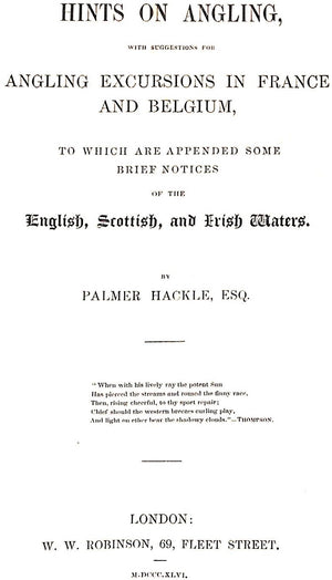 """Hints on Angling"" HACKLE, Palmer"