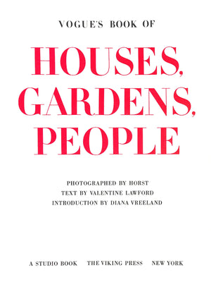 Vogue's Book of Houses, Gardens, People