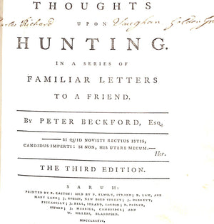"""Thoughts on Hunting"" 1784 BECKFORD, Peter, Esq"