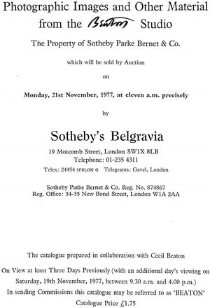 """Photographic Images and Other Material from the Beaton Studio"" 1977 Sotheby's Belgravia"