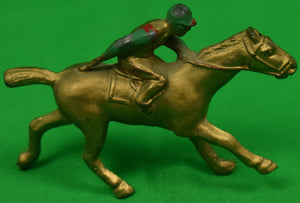 Brass Hand-Painted Jockey on Racehorse