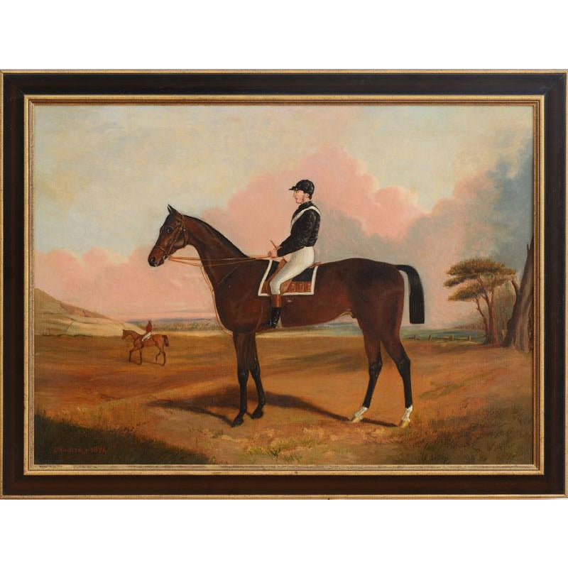 """Chestnut Racehorse w/ Jockey Up"" 1874 Oil on Canvas by C. Partridge"
