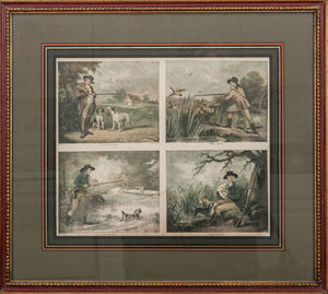 After George Morland (1763-1804): Partridge Shooting; Duck Shooting; Snipe Shooting; and Duck Shooting