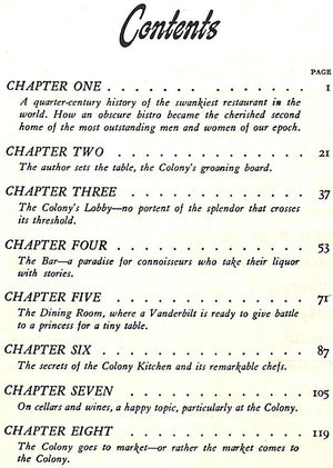 """The Colony: Portrait of a Restaurant - and Its Famous Recipes"" 1945 BRODY, Iles"