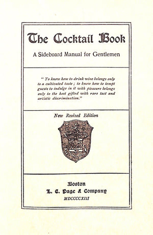 "The Cocktail Book ""A Sideboard Manual for Gentlemen."""