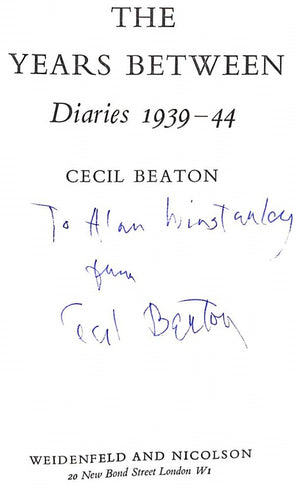 """Cecil Beaton's Diaries 1939-44 The Years Between"" BEATON, Cecil"