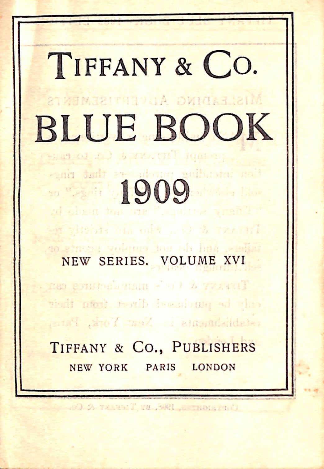 """Tiffany & Co. Blue Book 1909"" (SOLD)"