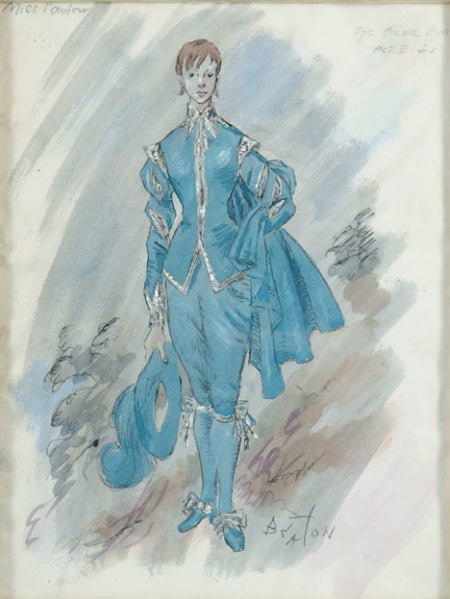 """Miss Parlow [as] The Blue Boy Act II of ""Landscape with Figures"" Original Watercolour by Cecil Beaton"
