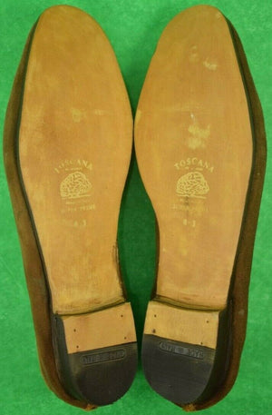 Stubbs & Wootton Creel Bag w/ Emb X'd Fly Rods Tobacco Suede Slippers Sz: 12 (Sold!)