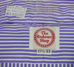 The Andover Shop Purple/ White Stripe Straight Collar 17.5-33 (New/ Old Deadstock!) (SOLD)