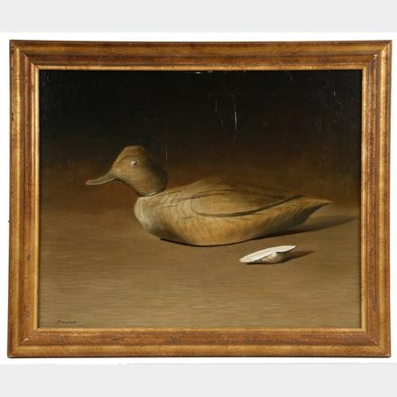 """Golden Eye Decoy"" Oil on Linen by Albert Edward Sandecki (NJ, 1935-)"