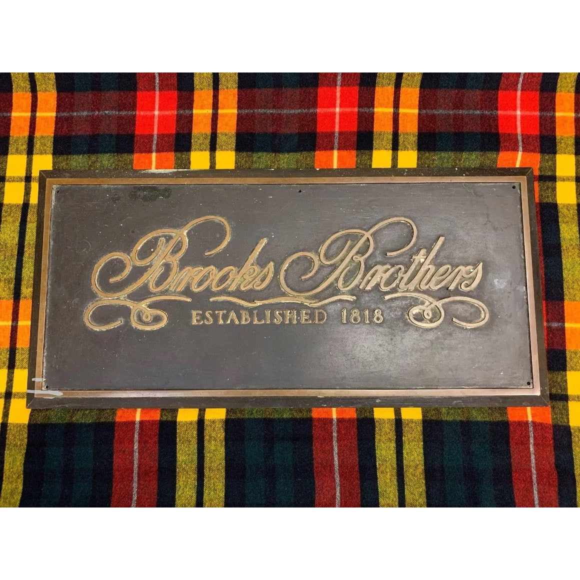 'Brooks Brothers Est. 1818 Store Facade c.1940's Bronze 49lb Sign'